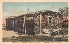 Tinted Postcard Sod House in Short Grass Country in Garden City, Kansas~112295