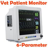 "Portable 12"" Veterinary Vet Patient Monitor Vital Signs NIBP SPO2 ECG TEMP RESP"