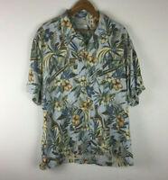 Caribbean Silk Blend Hawaiian Mens XL Shirt Rum Cigar Tropical Floral Wood Btns