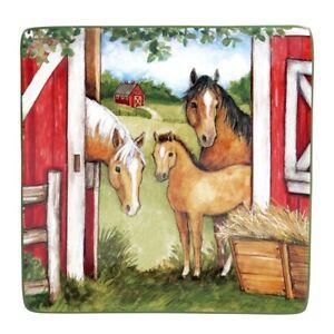 "Horse Family Barn Clover Farm 28154 Ceramic Square Platter 12.5"" Susan Winget"