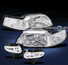 1999-2004 FORD MUSTANG CRYSTAL HEAD LIGHTS+BUMPER FOG LAMP 2000 2001 2002 2003