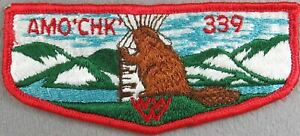 OA Amo'chk Lodge 339 Flap RED Bdr. (SEWN) [TK-1217]
