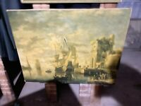 antique painting Print oil On Canvas European harbor