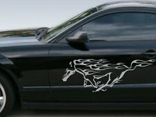 Ford Mustang Silver Running Horse w Flames Decals. Set of Silver vinyl stickers