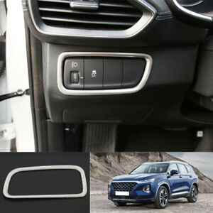 silver steel headlight adjustment frame trim 1pc For 2019-2020 Hyundai Santa Fe