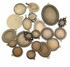 All In One 20Pcs Mixed Cabochon Frame Setting Tray Pendant For Diy Jewelry