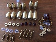 52pc Brass Fishing Weights W/ Glass Beads and Tickers Carolina Rig 1/2 5/8 3/4oz