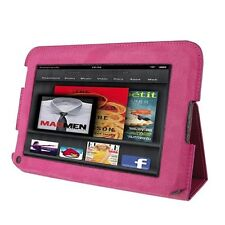rooCASE for Amazon Kindle Fire 7 - Ultra-Slim Leather Folio Case (Magenta - Sing