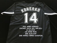 Paul Konerko Signed Autograph Black Stat Jersey JSA COA White Sox Great