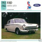 FORD CORTINA LOTUS 1963-66 CAR VOITURE Great Britain GRANDE BRETAGNE CARD FICHE