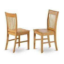 East West Furniture NFC-OAK-W Dining Chair With Wood Seat -Oak Finish, Set Of 2