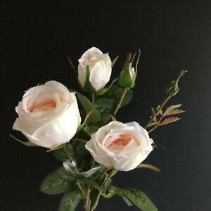 English cabbage rose faux/silk spray stem H61cm