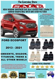 Ford Ecosport 13-21 Genuine Sheepskin Car Seat Covers Pair 22MM Airbag Safe