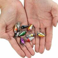 10Pcs/Set Fishing Lures Kinds Of Minnow Fish Bass Tackle Hooks Baits Crankbait