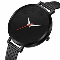Trendy Women Ultra Thin Minimalist Watch Slim Steel Strap Stainless Steel Quartz