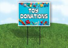 Toy Donations Blue Background Yard Sign Road With Stand Lawn Sign