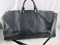 KITON Duffel Luggage Bag Large Black Pebbled Leather Shoulder Strap 24 x 8 x 11