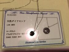 1carat Natural Black Diamond Pendant With Platinum 850 Chain With Certificate