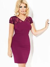BNWT Holly Willoughby Magenta Lace Back Wiggle Evening Occasion Dress Size 18