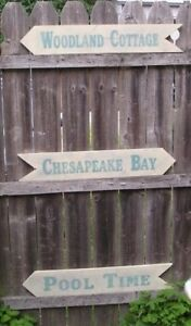 """32"""" CUSTOM HAND PAINTED WOOD DIRECTIONAL ARROW SIGN YOUR WORDING & COLORS"""