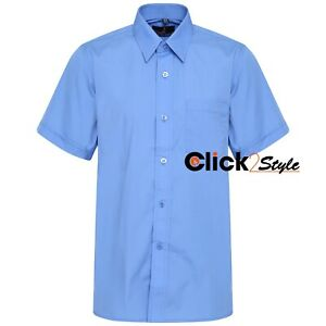 Boys Children Kids School Uniform Shirt Short Sleeve Blue Colour