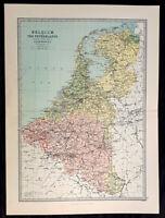 1870 John Bartholomew Large Antique Map of The Netherlands & Belgium