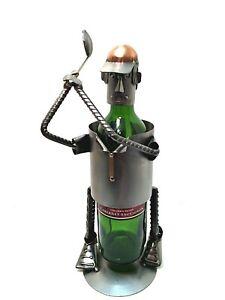 """Golf Wine Bottle Holder Stainless Steel Golfer Handmade Copper Trim 14.5"""" Tall"""