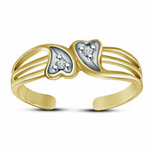 Double Heart Adjustable Toe Ring For Women 14k Yellow Gold Fn Diamond Round Cut