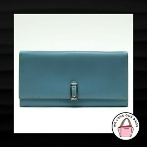NEW! RARE COACH VINTAGE BLUE LEATHER SILVER BUCKLE MAGNET SNAP WALLET CLUTCH