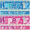 1st Birthday Banner Celebration Party Decoration Girl Boy Age 1 First One Yr