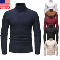 US Mens Roll Neck Long Sleeve Cotton Top High Neck Turtle Neck Sweater Tops