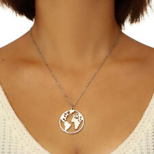Gold Plated Planet Earth Travellers World Map Necklace Choker Jewelry Pandant C8