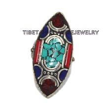 Adjustable Turquoise Lapis Ring Coral ring Gypsy ring Tibetan ring Tibet Ring 32