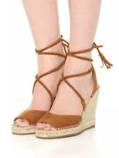 Joie Phyllis Wedge Espadrille Sandal Size 39.5 NEW Whiskey Suede Lace Up