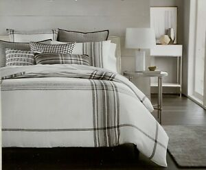 HOTEL COLLECTION FULL/QUEEN LINEN PLAID COMFORTER COVER NITP MSRP $385