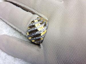 AFFINITY SWIRL BAND DIAMOND RING, 18K YELLOW GOLD PLATED SS, SIZE 8 (M644-18)