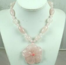 Natural  Rose Quartz agate flower Handmade Gemstone Jewellery Necklace