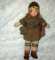 Vintage Cloth 1950's Brownie Doll in Uniform Blonde Hair Blue Eyes..12""