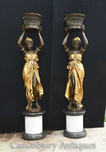 Pair Italian Bronze Female Torchiere Statues XL Planters