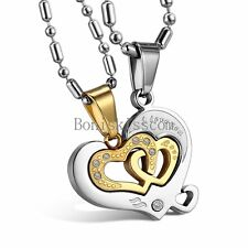 """His and Hers Stainless Steel """"I Love You"""" Heart Pendant Necklace Set for Couple"""