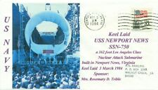 USS NEWPORT NEWS SSN-750 USN Attack Submarine Color Photo Cachet Keel Laying PM