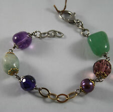 .925 RHODIUM SILVER AND YELLOW GOLD PLATED BRACELET WITH GREEN JADE, AMETHYST
