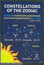 GRENADA  2013 CONSTELLATION OF THE ZODIAC SHEET   ARIES TAURUS GEMINI MINT NH