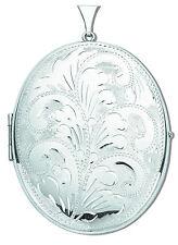 Silver Locket Sterling Silver Fully Engraved Huge Oval Locket Made in UK