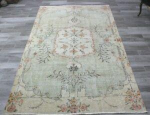 Anatolian Floral Design Area Rug Turkish Vintage Handwoven Beige Carpet 6x9 ft