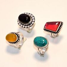 20 PCs. TURQUOISE & CARNELIAN Gemstone 925 Sterling Silver Plated Ring Jewelry
