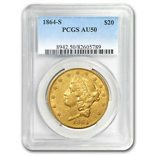 1864-S $20 Liberty Gold Double Eagle AU-50 PCGS