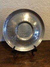 Vtg Continental Hand Wrought 642 Silverlook Aluminum Platter Round Tray 7�