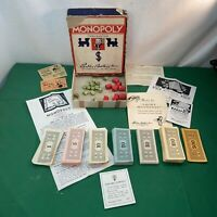 Vtg 1935 MONOPOLY PARKER Bros Instructions Money PARTS FOR GAME Box Wood Houses