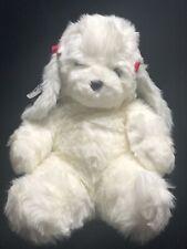 Vtg 1984 Mattel Emotions Plush Poodle Dog Francine White Gray Ears Red Bows